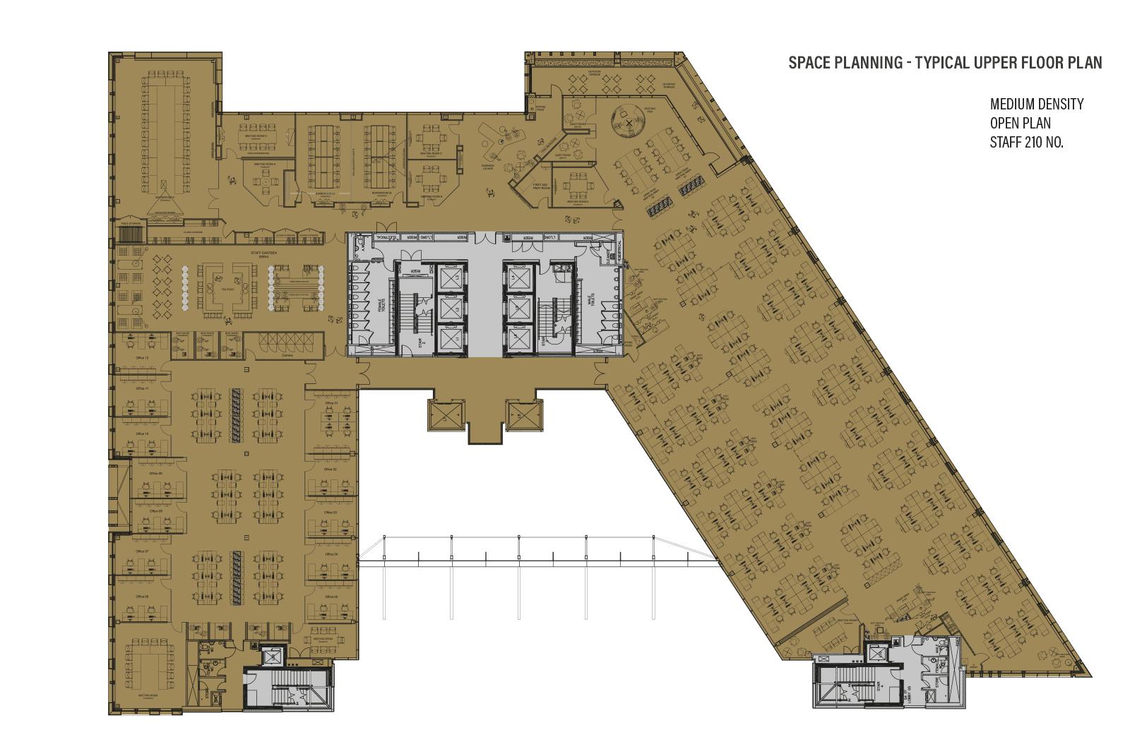 Typical Upper Floor - Space Planning - Medium